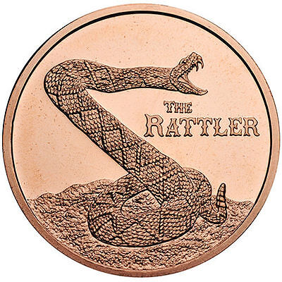 """The Rattler"" 1 oz .999 Copper BU Round USA Made All American Bullion Coin"