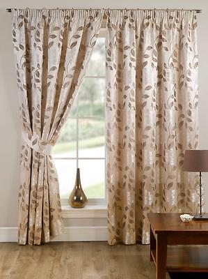 Floral Pencil Pleat Tape Top Fully Lined Ready Made Curtains Pair Beige Natural