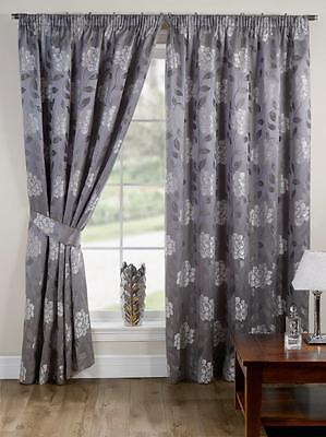 Silver Floral Pencil Pleat Tape Top Fully Lined Ready Made Curtains Pair