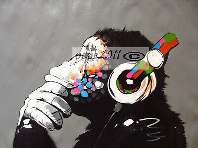 Canvas  Banksy Street Art Print DJ MONKEY chimp Painting 100cm x 60cm Australia
