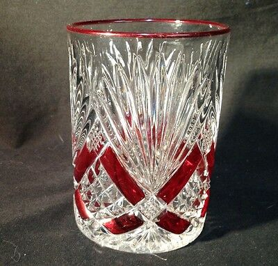 Cut Glass Tumbler Drinking Cup Clear Ruby Red Paint VTG Early 1900s 9 Ounce 3.75