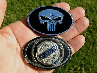 UK ~ PUNISHER 62mm CHRYSLER Replacement METAL CAR BADGE Emblem *NEW & UNIQUE!* B
