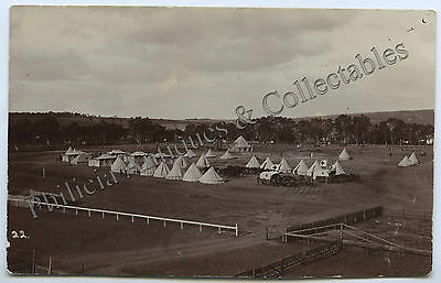 C1915 Ww1 Rp Npu Postcard Gawler Army Camp On Racecourse Marchant Photo H80