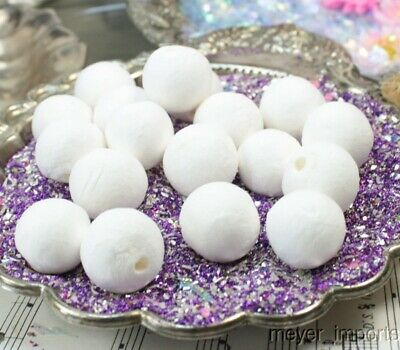 Spun Cotton Balls - White - Set of 10 - Floral - Imported from Germany