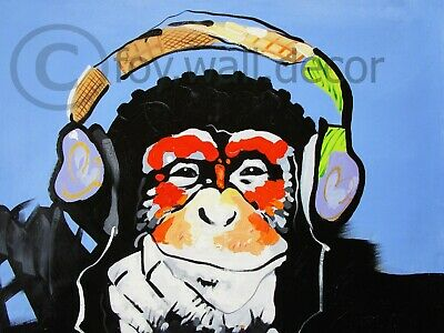 Canvas Banksy Street Art Print DJ MONKEY chimp Painting 70cm Australia
