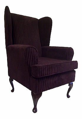 Wing Back Queen Anne Chair Soft Aubergine Jumbo Cord Fabric
