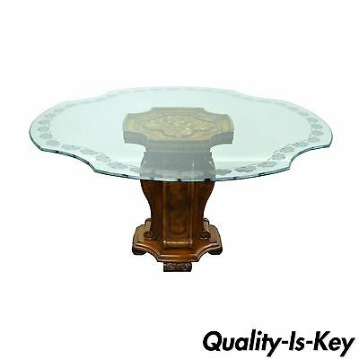 Mediterranean Style Decorator Clover Etched Glass Pedestal Dining Center Table