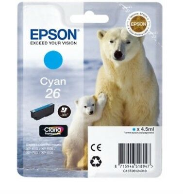 T2612 ( 26 ) Original Cyan Ink Cartridge for Epson Expression Premium XP-605