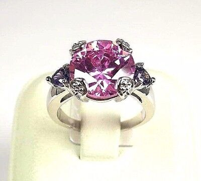 Imperial Pink Topaz simulated gemstone ladies silver ring size 7.25 R#6205