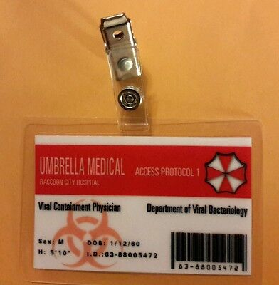 Resident Evil ID Badge-Umbrella Corporation Medical Male cosplay costume prop