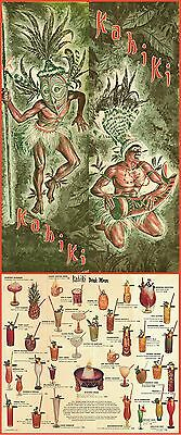 "1970's KAHIKI TIKI POLYNESIAN CLUB COLUMBUS OHIO DRINK MENU 11""x28"" GREAT REPRO!"