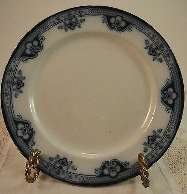 "Antique Albion FLOW BLUE Pottery EBJELB China Bread Plate 7 5/8"" - BELLE Pattern"