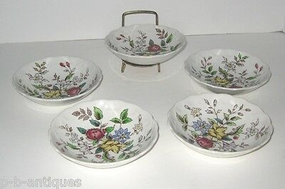 """Lot Of 5 Booths Flowerpiece Berry Bowls  A8064  English China 5 1/4"""""""