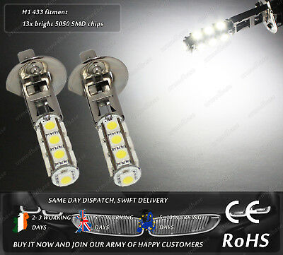 2x H1 433 LED White HID Xenon Fog Bulbs DRL Lamps W5W 501 T10 Running Lights 12v