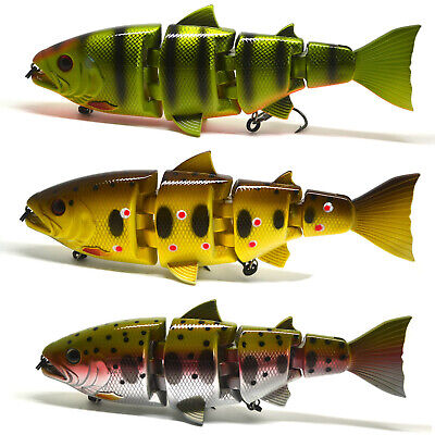 "8"" Pike Muskie Fishing Bait Swimbait Lure Life-like Perch Multi-jointed NEW"