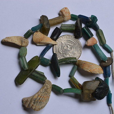 Ancient Roman Glass Fragment Beads 1 Medium Strand Shell 100-200 Bc 0142