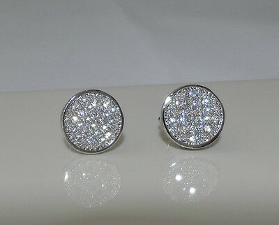 10mm Round created Diamond Stud Earrings White Gold Plated Men's or Women's
