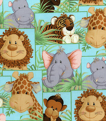 JUNGLE BABIES NURSERY PATCH BY PATTY REED 100% COTTON FABRIC BY THE 1/2  YARD