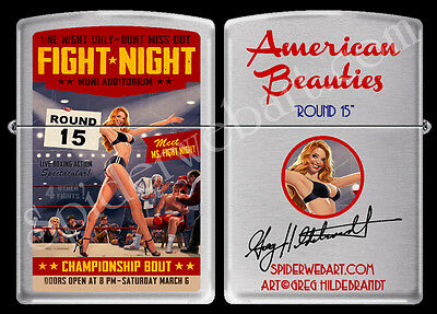 Zippo Very Rare Greg Hildebrandt Round 15 Boxing Pinup Hand Signed Lighter New