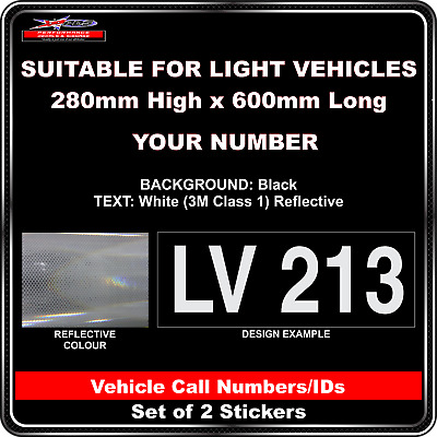 Hi Vis Light Vehicle Call Number/ID Class 1 (Black/White) - 2 Sticker