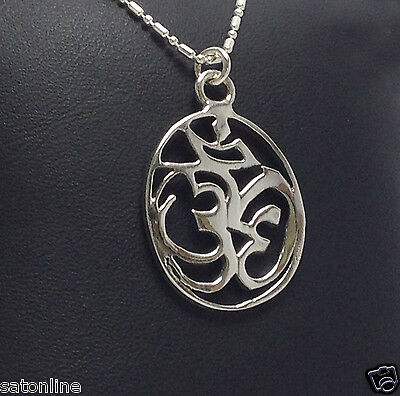 925 Sterling Silver Pendant Om Hindu, symbol of Lord Ganesh.(No.7)