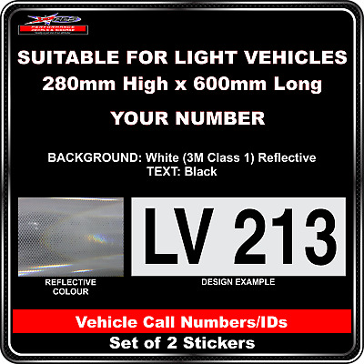 Hi Vis Light Vehicle Call Number/ID Class 1 (White/Black) - 2 Sticker