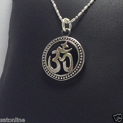 925 Sterling Silver Pendant Om Hindu, symbol of Lord Ganesh.(No.10)