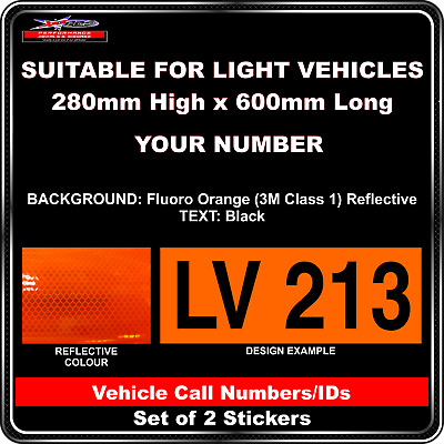 Hi Vis Light Vehicle Call Number/ID Class 1 (Fluoro Orange/Black) - 2 Sticker