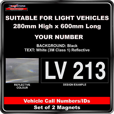 Hi Vis Light Vehicle Call Number/ID Class 1 (Black/White) - 2 Magnet