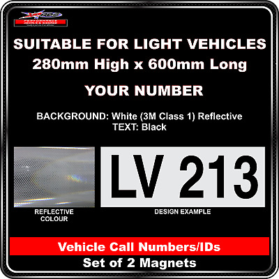 Hi Vis Light Vehicle Call Number/ID Class 1 (White/Black) - 2 Magnet