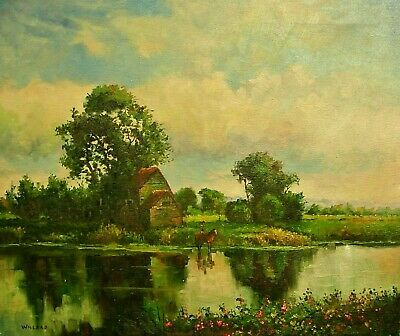 Willard-Horseman at Pond-Original Oil Painting on Stretched Canvas, Hand Signed.