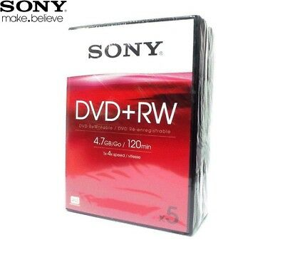 SONY DVD+RW 4.7GB 4x Speed 120min Rewritable/Recordable Discs Video Box /Pack 5