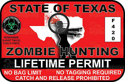 """ZOMBIE Hunting License /""""BLOODY RED/"""" 2 Pk Sticker Permit Funny Decal Bumper Dead"""