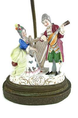 Vintage Dresden Style Victorian Musical Couple Playing Instruments Harp Lamp