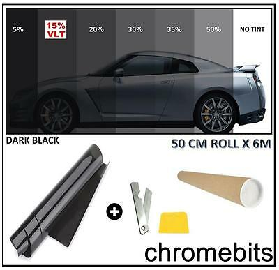 CAR OFFICE HOME TINTING WINDOW TINT FILM KIT DARK BLACK SMOKE 15% 6M x 50CM