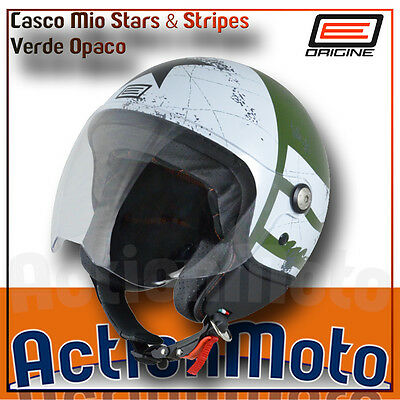 Casco JET Helmet Origine Mio Stars And Stripes Verde Opaco Moto Scooter Visiera