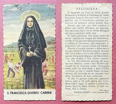 Santino Holy Card: S. San Francesca Saverio Cabrini