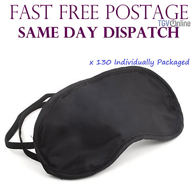 130 X Travel Eye Masks, Sleep Sleeping Cover Rest Eyepatch Blindfold (Black) New
