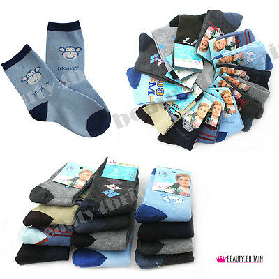 6 PAIRS x BOY SOCKS COTTON RICH 80% 3 SIZES MIXED DIFFERENT DESIGNS FROM UK