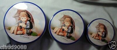 "M.i.hummel   "" Set Of 3 Tins Girl With Umbrella"" Tc1A05 Mint Not Boxed"