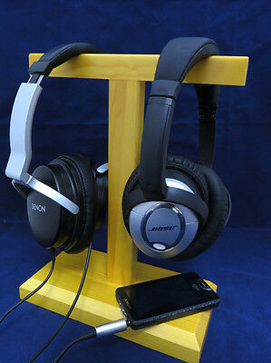 HSW2 Wooden twin headset headphone stand bracket for large size headphones