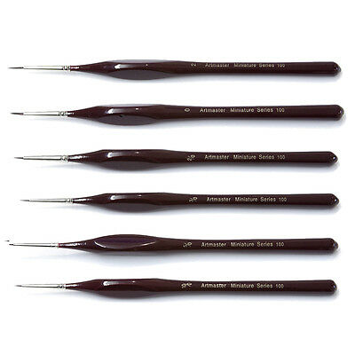Extra Fine Detail Paint Brushes Set of 6 Art, Miniatures, Model Maker, Warhammer
