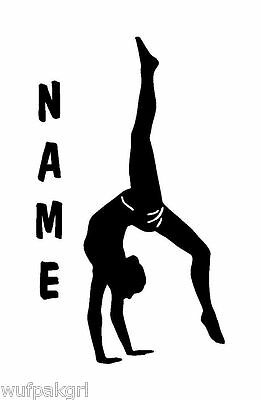 Gymnast with Name Vinyl Sports Decal 6608
