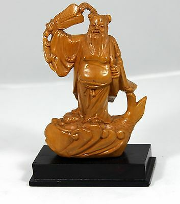 """Hand Carved Wooden Sculpture of a """"Chinese Wiseman Riding a Fish""""  INCREDIBLE !"""