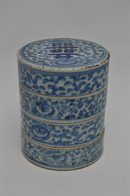 Early Chinese Hand-Painted Porcelain Stacking Dishes