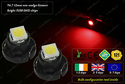 2x T4.7 12mm Neo Wedge LED Red Dashboard HID Cluster Speedo Panel Interior Bulbs