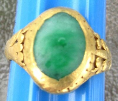 ANTIQUE CHINESE 22K GOLD & JADE JADEITE  RING  3.67 GRAMS W/ MAKER'S MARKS NICE!