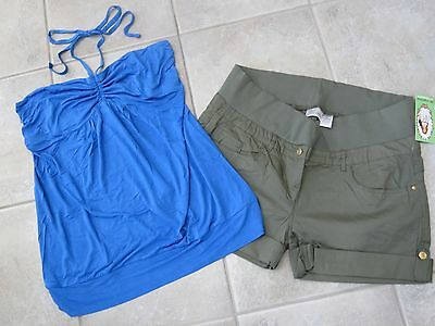 NEW 9 PC SPRING MATERNITY LOT CAPRIS TOPS SHORTS OLD NAVY MOTHERHOOD LARGE L NWT