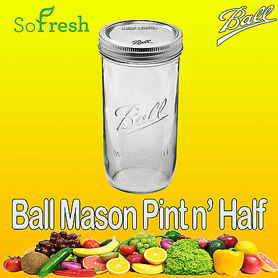 1 x Ball Mason Pint and a Half Wide Mouth Jar & Lid BPA FREE Preserving Canning