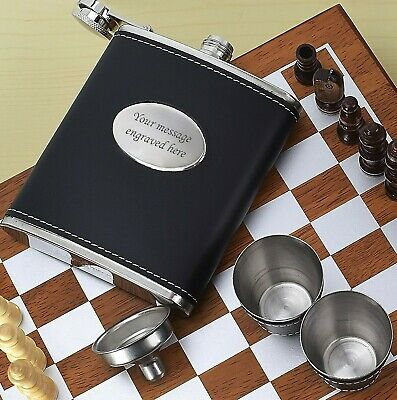 Personalised Black Leather Style Hip Flask Funnel Cup Set Boxed FREE Engraving